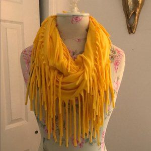 Accessories - Bright Yellow Jersey Fringe Infinity Circle Scarf